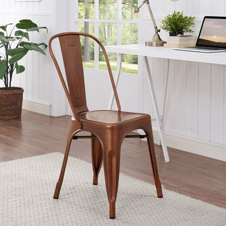 Stackable Metal Cafe Bistro Chair - Bronze (Multiple Colors Available)