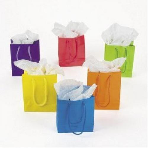 Lot of 12 Small Bright Neon Color Paper Gift Party Bags (Small Gift Box)