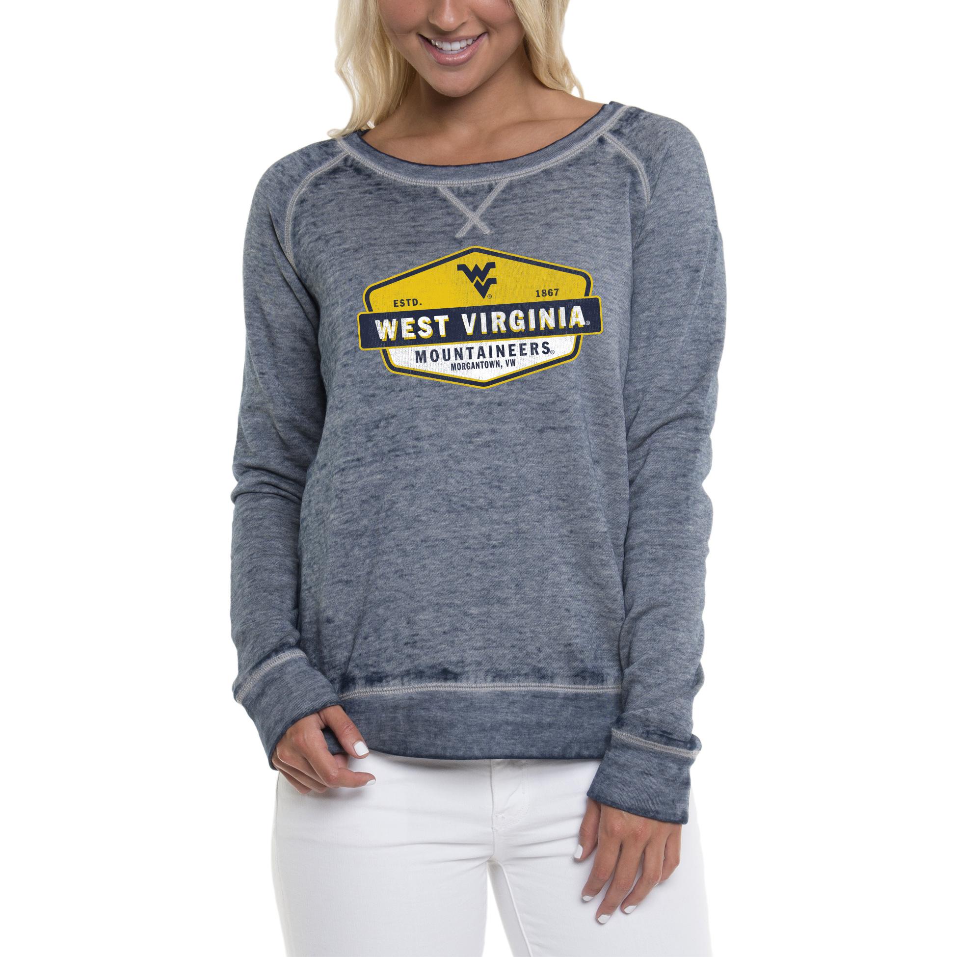 Women's Heathered Navy West Virginia Mountaineers Retro Shield Pullover Sweatshirt