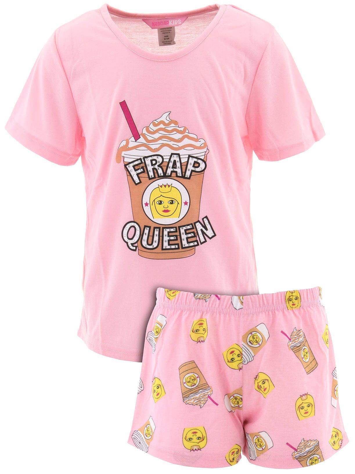 Katnap Kids Big Girls' Frap Queen Pink Short Pajamas
