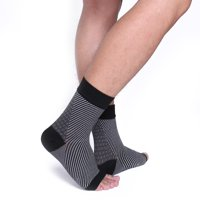 CFR Copper Compression Recovery Foot Sleeves / Ankle Sleeve / Plantar Fasciitis Support Socks. Guaranteed Highest Copper Content. For Heel Spurs, Arch Pain, Foot Swelling & Ankle Injuries (1 PAIR)