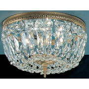 Crystal Baskets 3-Light Ceiling Flush (Roman Bronze)