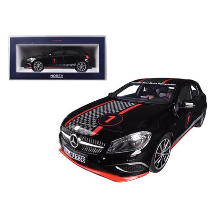 2013 Mercedes A Class Sport Equipment Black with Racing Deco 1/18 Diecast Car Model by Norev - image 1 de 1