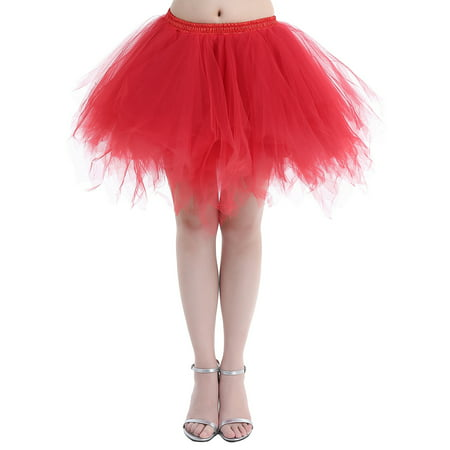 Black Plus Size Petticoat (Market In The Box 1950s Women Vintage Short Tulle Petticoat Ballet Bubble)