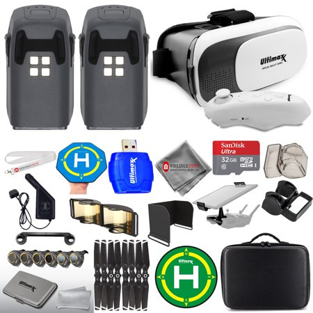 DJI Spark 2 Battery Accessory Bundle! Includes VR Goggles, Carry Case,  Filter Kit, Landing Pads, Range Extender, 32GB Micro SD + MORE!
