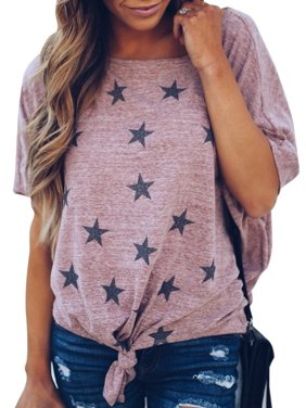 a91e77cbc87cb Product Image Fashion Women Star Print Short Sleeve Knot T Shirt Ladies  Summer Casual Top Tee Blouse