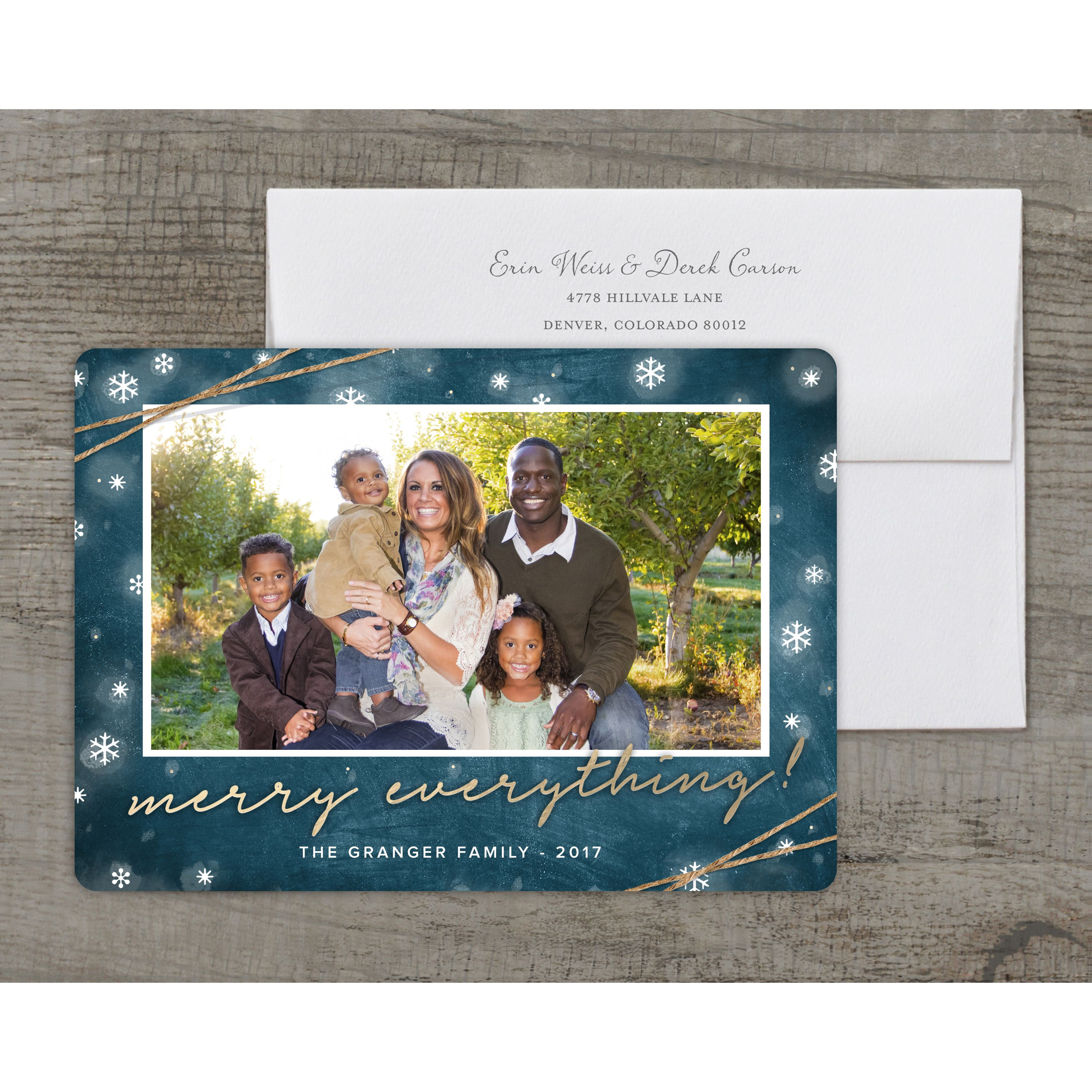 Rustic Merry Everything - Deluxe 5x7 Personalized Holiday Christmas Card