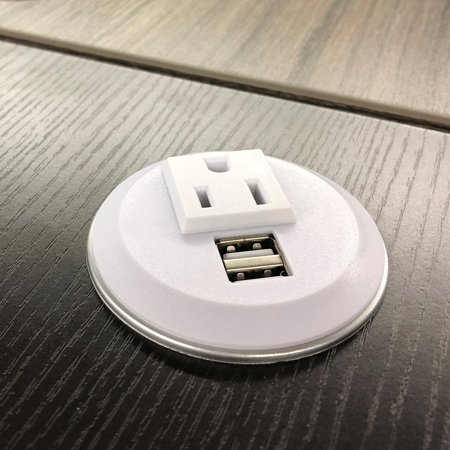 PWR Plug Power Grommet for Desk Office Furniture Fits 2