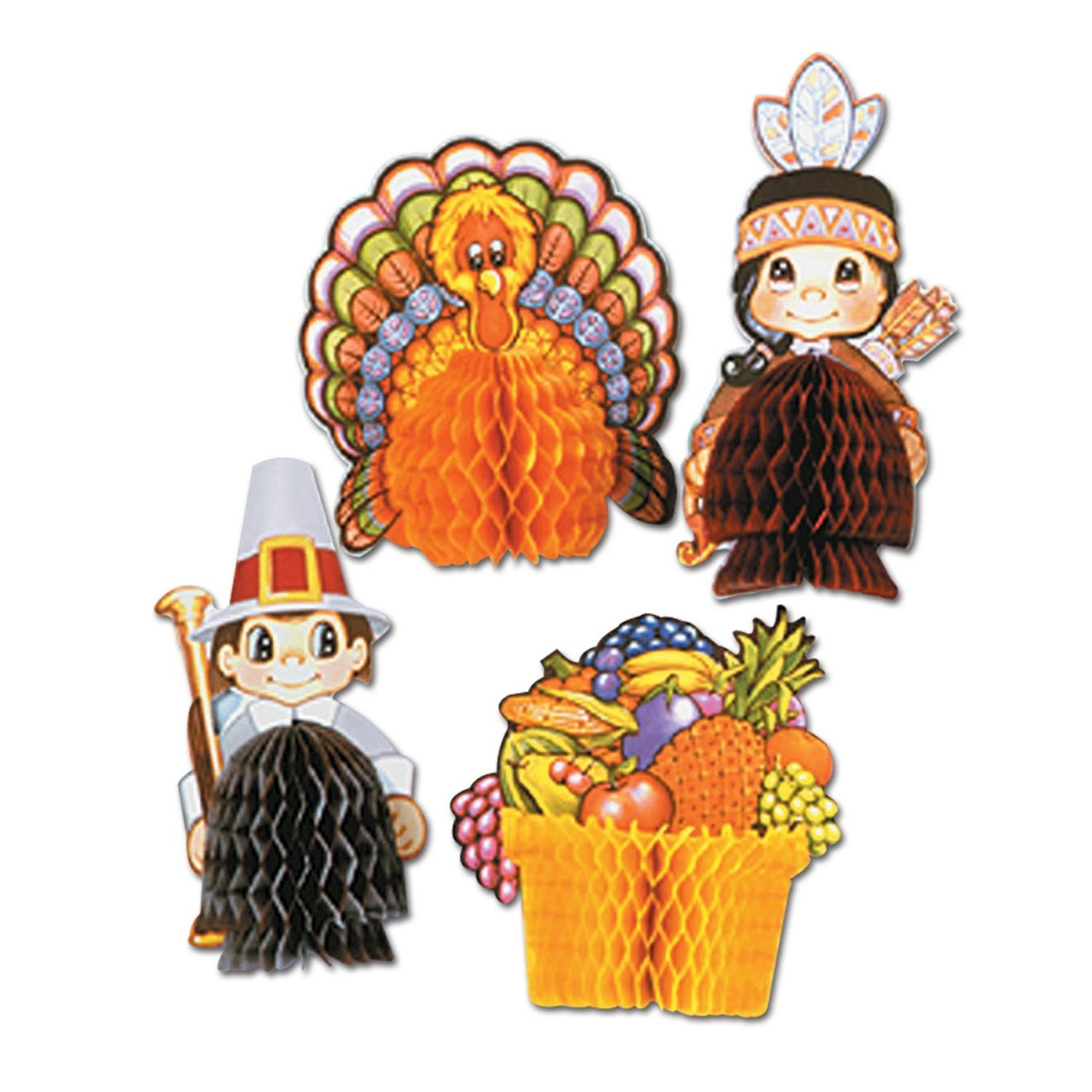 Club Pack of 48 Assorted Thanksgiving Playmates Tissue Table Centerpiece Decorations 5""