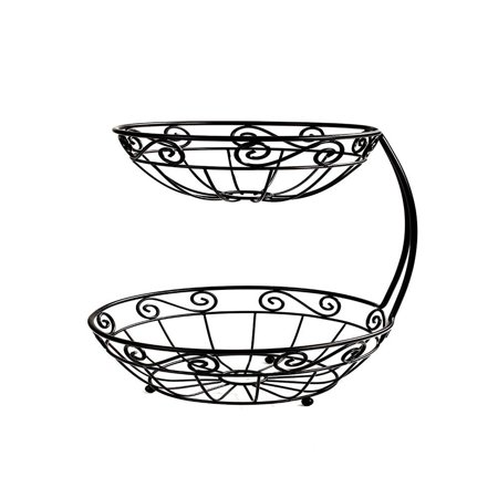 - Scroll Fruit Stand, Tiered Server, Fruit Baskets, 2 Tier, Black, Open design helps fruits and vegetables to ripen evenly By Spectrum Diversified