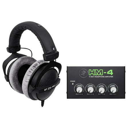 Beyerdynamic DT-770-PRO-250 Studio Headphones+Mackie 4Way Distribution Amplifier