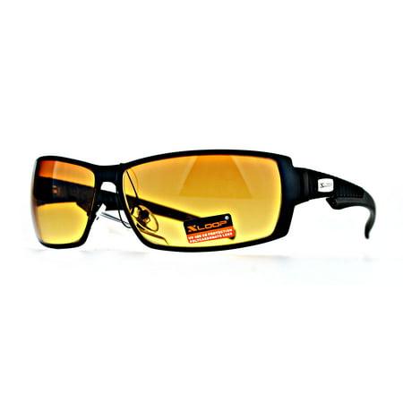 Xloop Mens Rectangular Metal Rim Warp Sport HD Lens Sunglasses Black