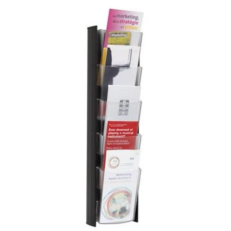 Wall Brochure Rack with 4 Pamphlet Sized Pockets, Black Brochure Pocket Literature Rack