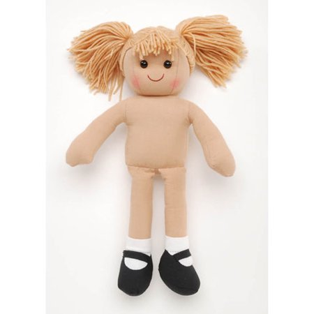 Girl Doll - Stuffed - Fawn Brown Yarn Hair - 13.75 inches