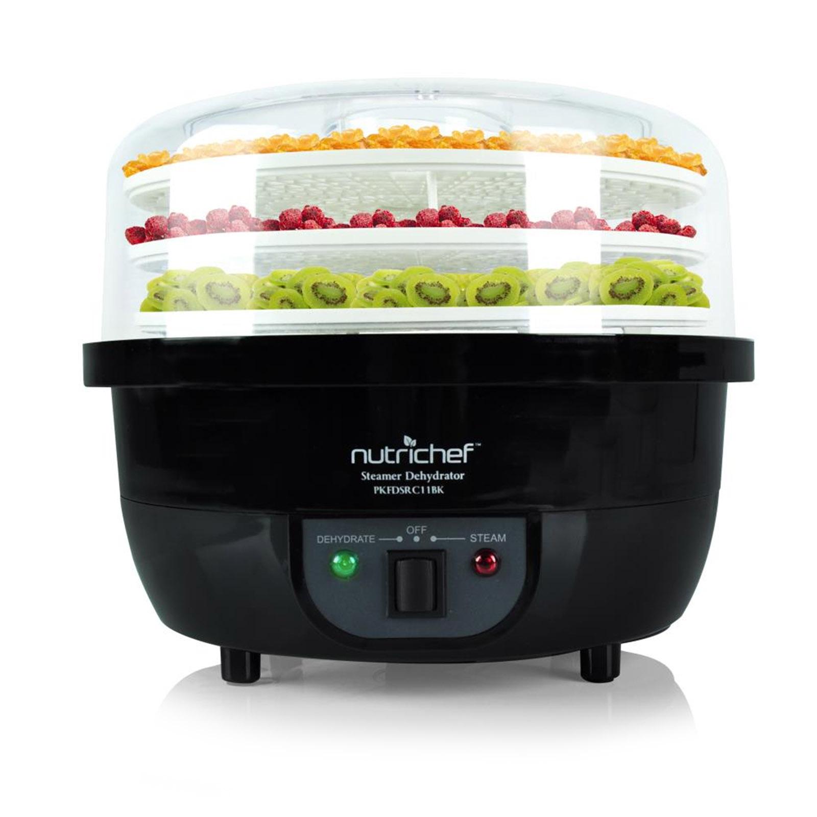 NutriChef 3-in-1 Dehydrator & Steamer Food Cooker - Black