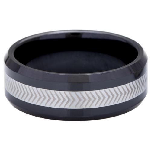 Men's Tungsten Ceramic Laser -Etched Band (8 mm) 9.5
