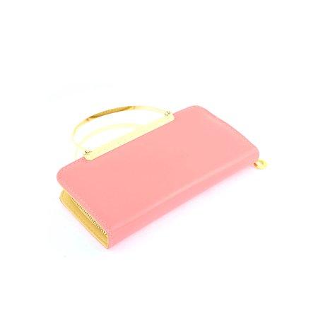 Unique Bargains Faux Leather Zip Up Floral Letters Print Handbag Purse Evening Clutch Bag Pink - image 2 of 4