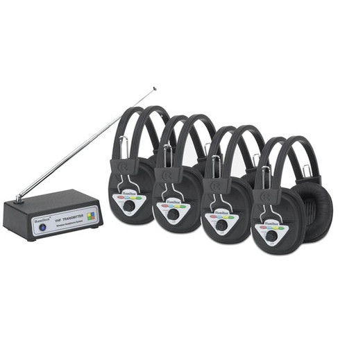 Hamilton Electronics Multi Frequency 4 Station Wireless Listening Center with Headphones and Bluetooth Transmitter