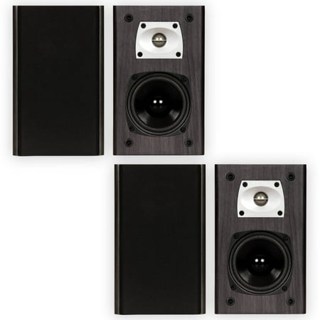 Theater Solutions B1 Black Bookshelf Speakers Surround Sound Home Speaker 2 Pair Pack