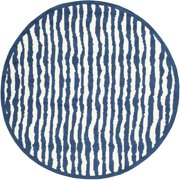 Safavieh  Handmade Children's Stripes Ivory/ Blue Cotton Rug (6' Round)