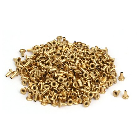 Unique Bargains 500pcs M1.5x3mm Brass Plated Metal Hollow Eyelets Rivets Gold Tone - image 3 of 3