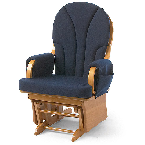 Foundations Lullaby Adult Glider Rocker, Natural/Blue