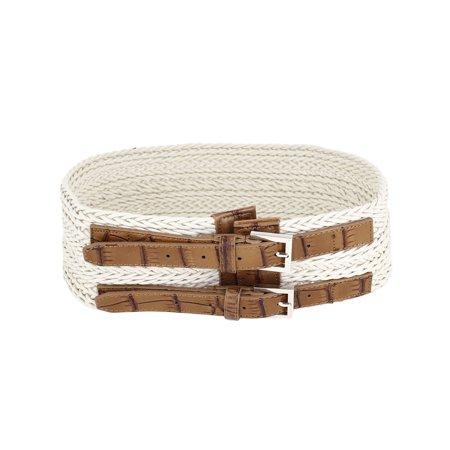 Double Sash - Lady 8cm Width Double Single Pin Buckle Adjustable Beige Braided Waistband Belt