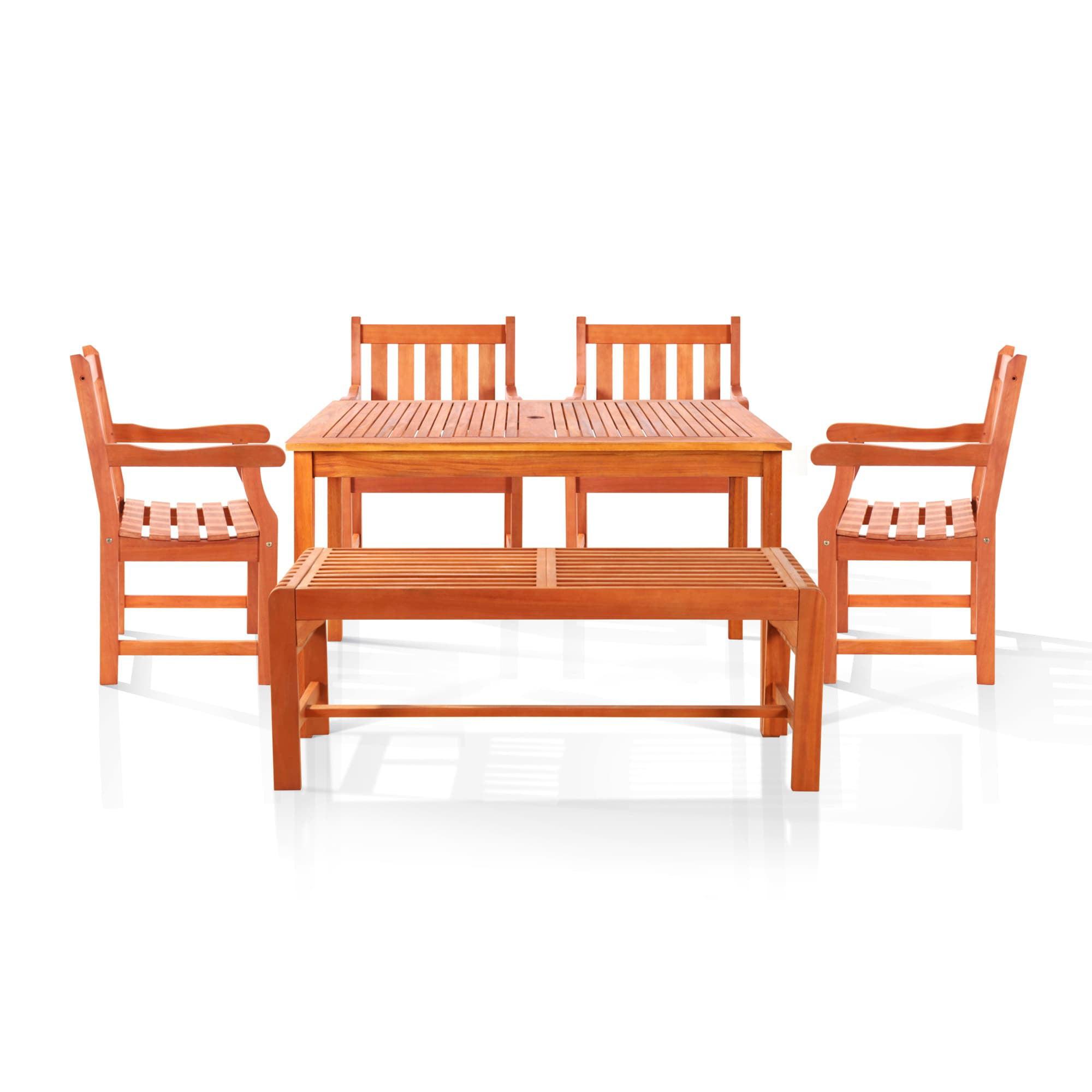 Vifah Bonsi Dining Set with Rectangulate Table, Backles B...