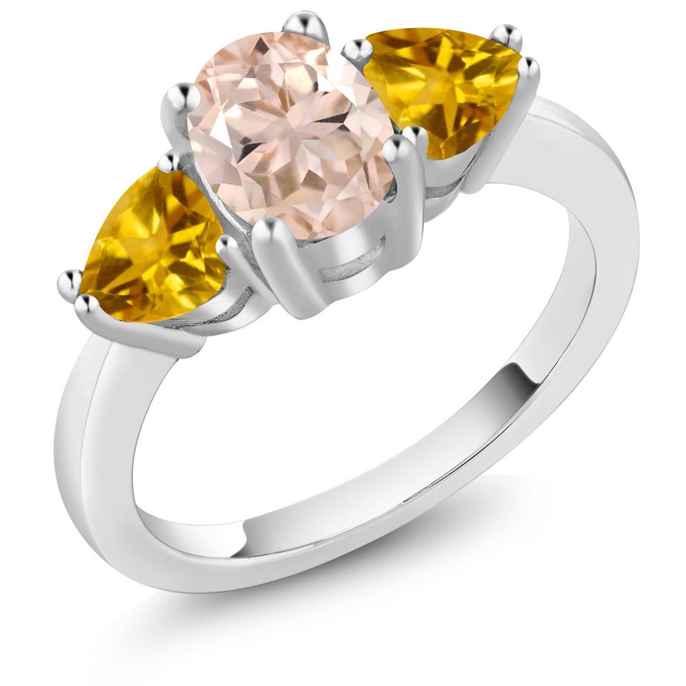 1.82 Ct Oval Peach Morganite Yellow Citrine 18K White Gold 3-Stone Ring