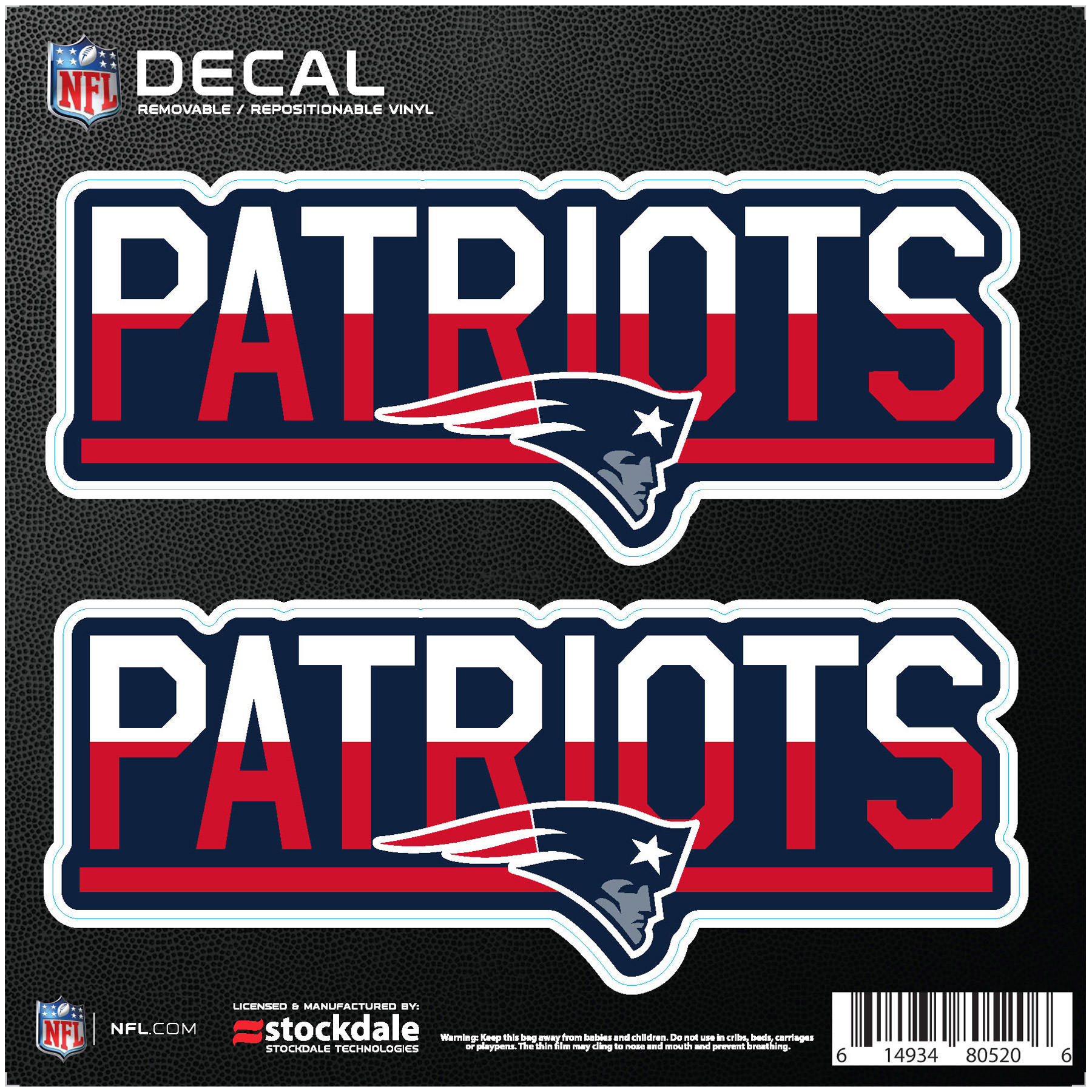 """New England Patriots 6"""" x 6"""" Two-Tone Repositionable Decal 2-Pack Set - No Size"""