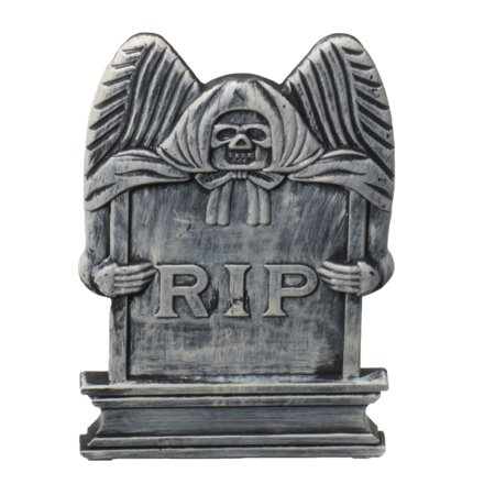 Spooky Reaper Tombstone Plastic Haunted House Decor Prop Halloween - Homemade Tombstones For Halloween Decorating