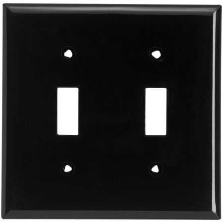 Cooper PJ2BK Black Mid-Size Unbreakable Two Gang Toggle Light Switch Wall