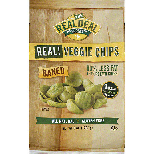 The Real Deal All Natural Snacks Real! Veggie Chips, 6 oz, (Pack of 12)