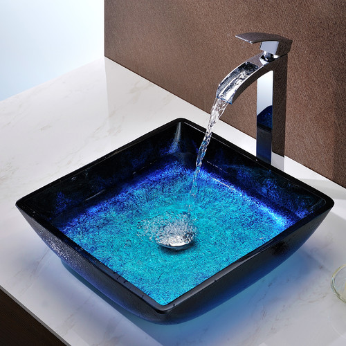 Bathroom Sinks Walmart anzzi viace square vessel bathroom sink - walmart