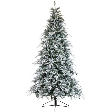 df591d92dfc The Holiday Aisle Bavarian Flocked Pine Artificial Christmas Tree with  Clear White Lights - Walmart.com