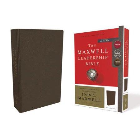 Calfskin Card (NKJV, Maxwell Leadership Bible, Third Edition, Premium Calfskin Leather, Brown, Comfort Print )