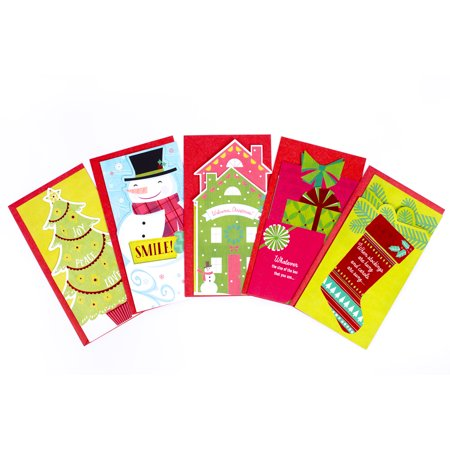 Hallmark Christmas Gift Card or Money Holder Assortment, Fun & Festive (5 cards with Envelopes)
