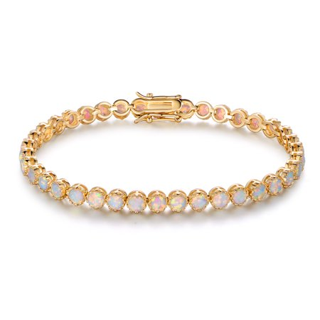 White Gold Pink Tourmaline Bracelet - 18K Gold-Plating & White Fire Opal Crown Tennis Bracelet