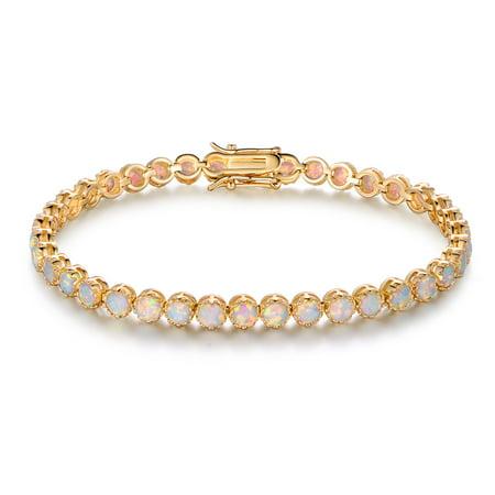 Gold Opal Bracelet - 18K Gold-Plating & White Fire Opal Crown Tennis Bracelet