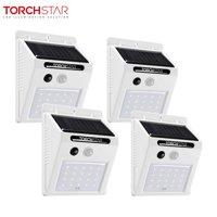 TORCHSTAR 20 LED Solar Motion Sensor Lights, Wireless Outdoor Solar Lights for Garden, Patio, Yard, White, Pack of 4