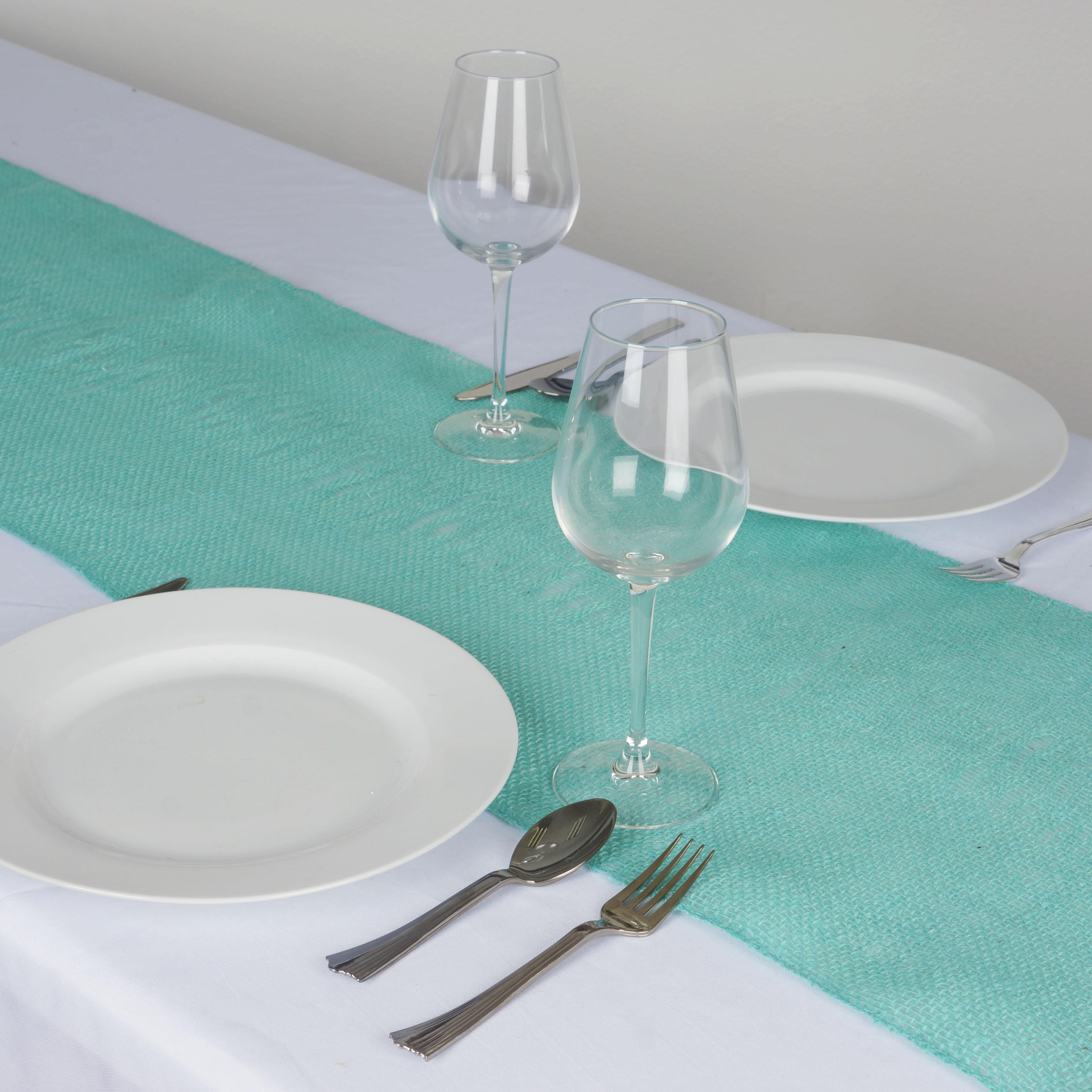 "BalsaCircle 14"" x 108"" Burlap Jute Table Top Runner - Wedding Party Reception Linens Dinner Event Decorations"