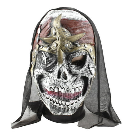 Unique Bargains Adults Dress Ball Masquerade Party Scissors Print Horrible Face Mask - Black Face Halloween Mask