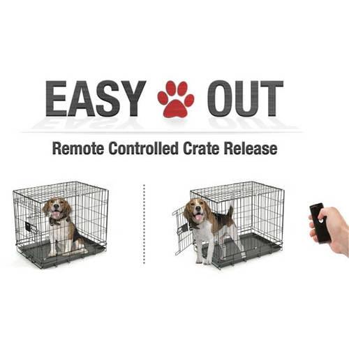 EasyOut Remote Pet Cage Door Opener Double Latch, Black