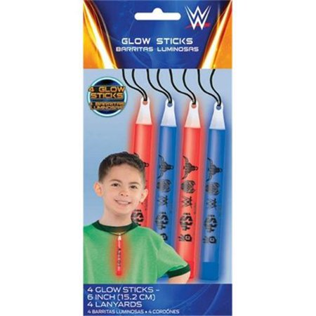 WWE Wrestling Glow Sticks / Favors (4ct) - Wwe Wristbands