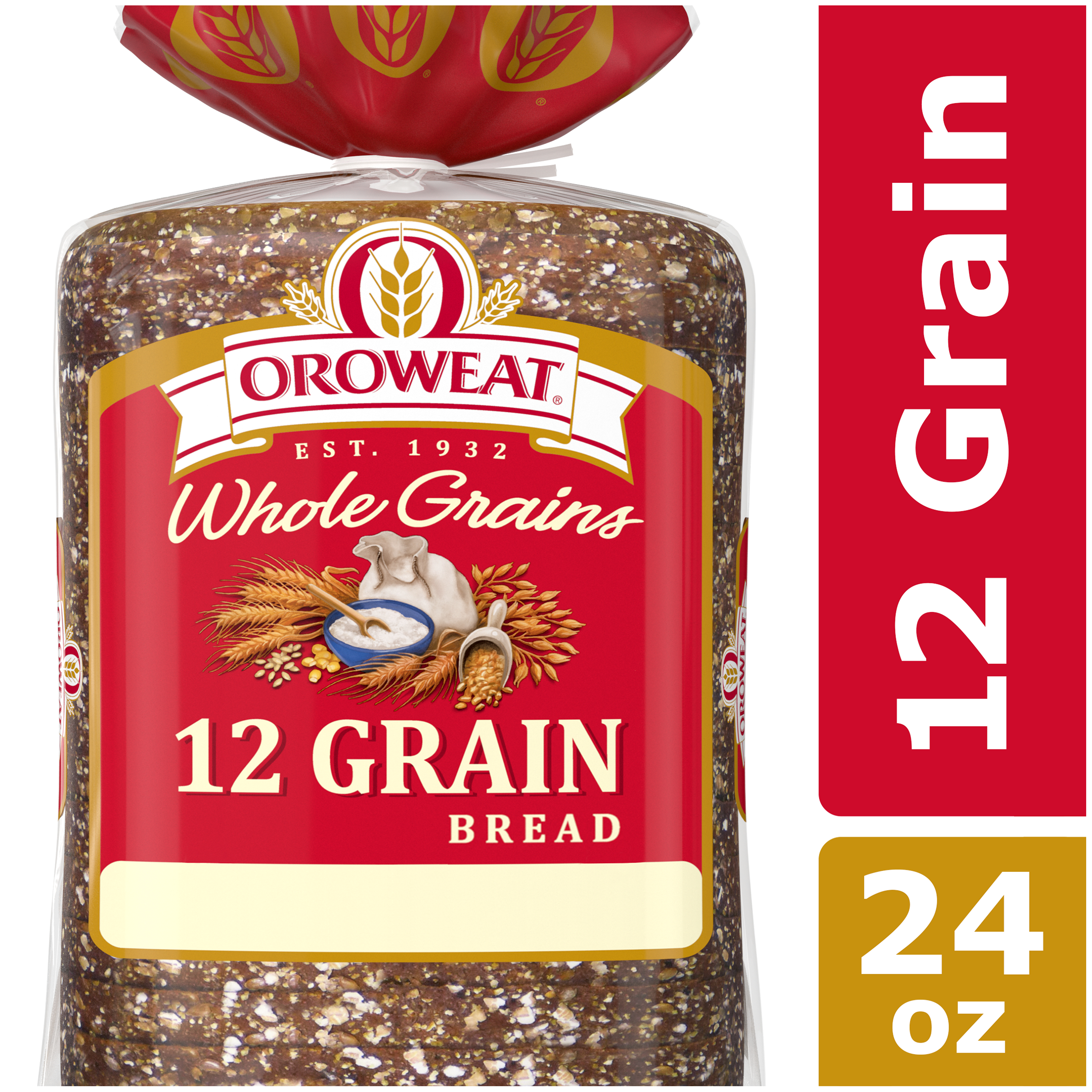 Oroweat Whole Grains 12 Grain Bread, Made with Whole Wheat, 24 oz