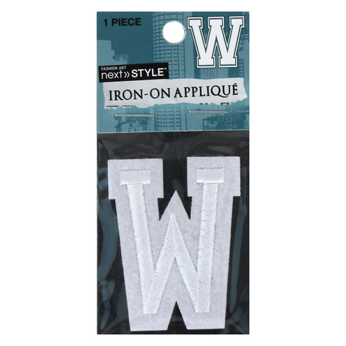 "Next Style Single Embroidery Letter, ""W"", White"
