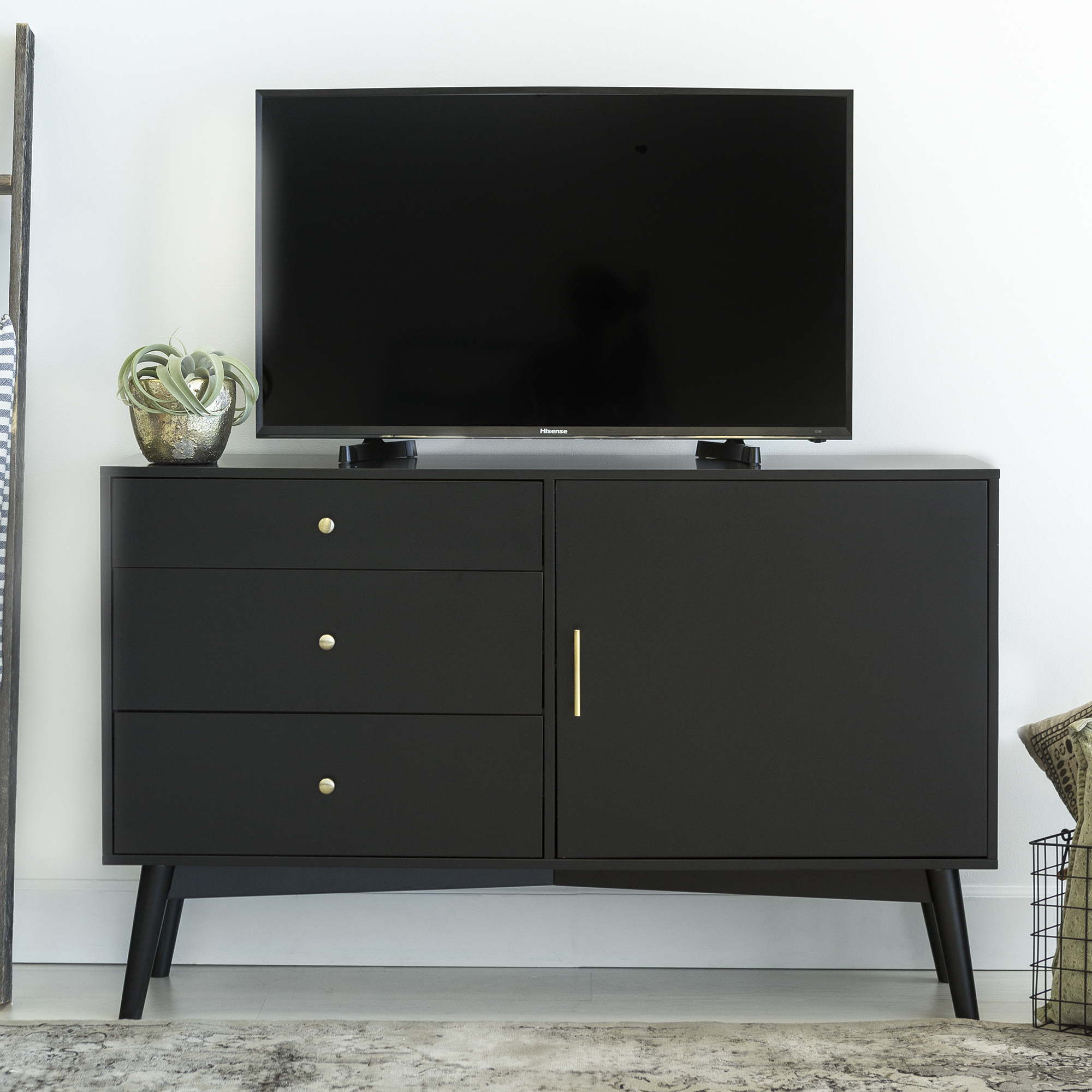 "angelo:HOME 52"" Mid-Century TV Stand Storage Console Entertainment Center - Black"