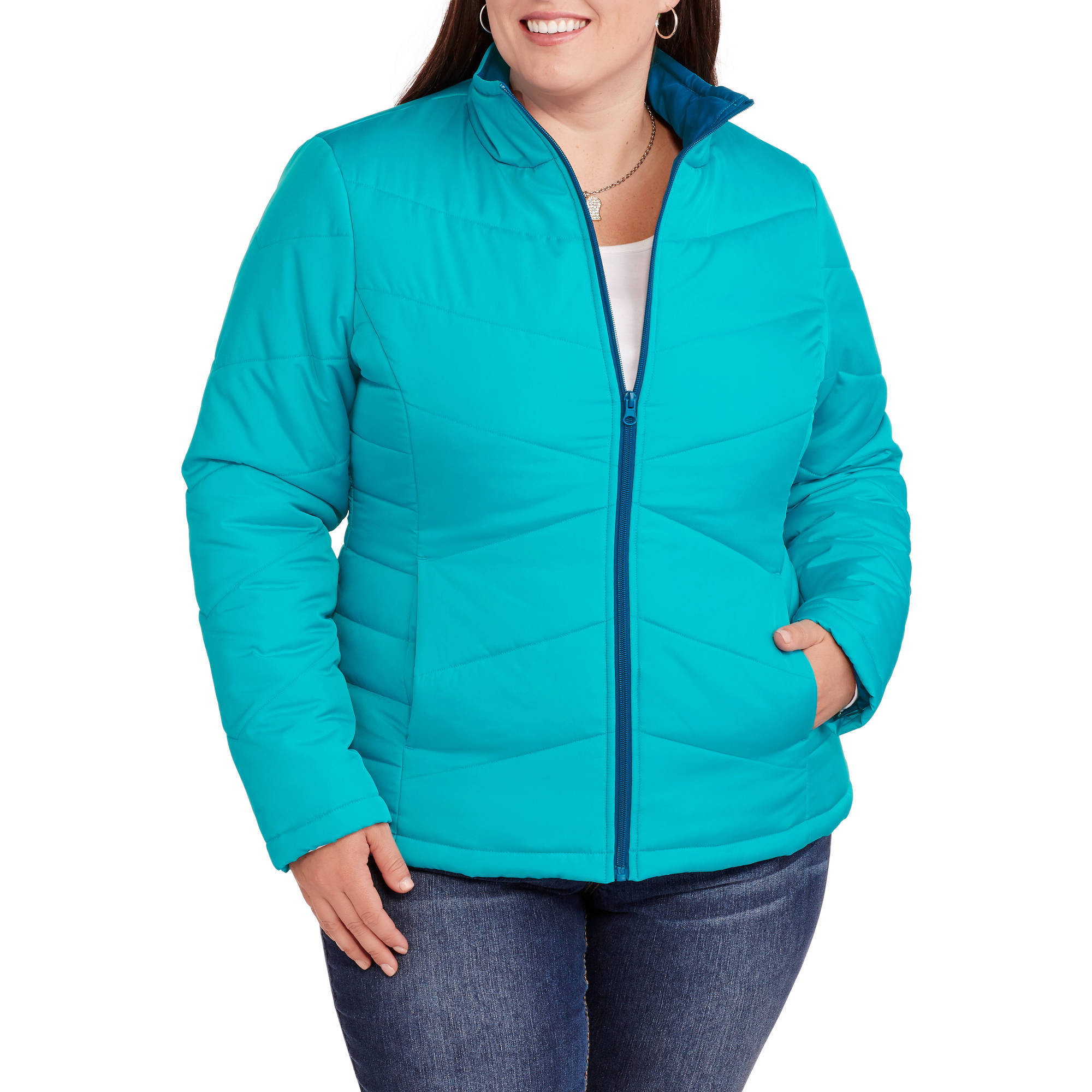 Faded Glory Women's Plus-Size Lightweight Bubble Jacket