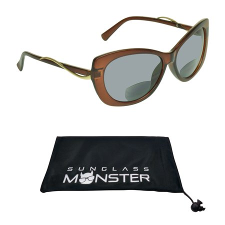Sunglass Monster Womens BIFOCAL Reading Sunglasses Readers with Cat Eye Fashion Oversized Sexy Transparent Brown Frame](Novelty Glasses With Eyes)
