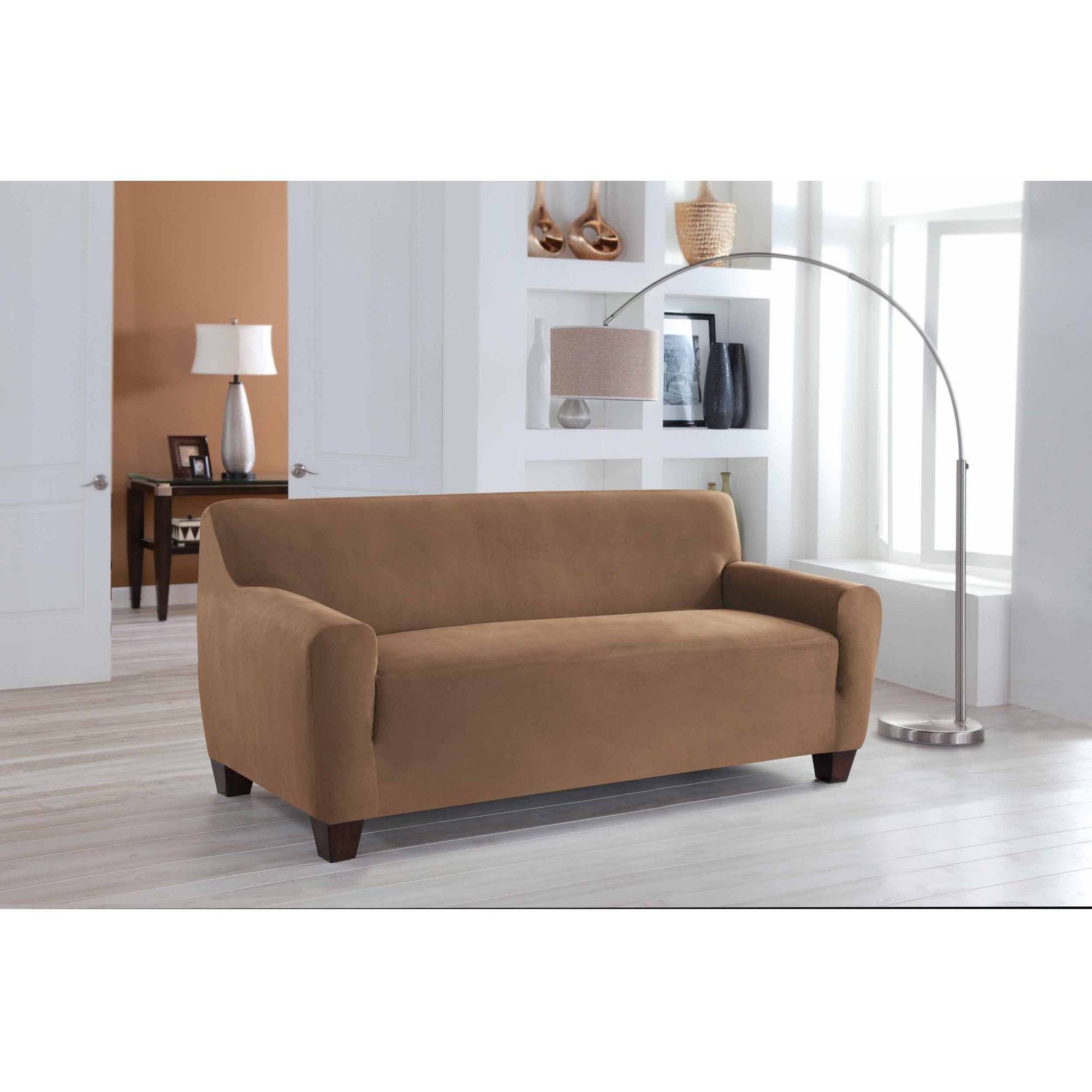 Serta Stretch Fit Microsuede Slipcover Sofa 1 Piece Box Cushion